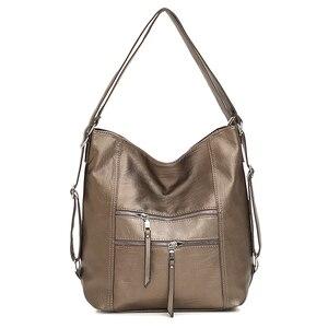 Image 2 - Женские кожаные сумки 3 в 1, высококачественные модные сумки через плечо, винтажные повседневные сумки тоут, женские дизайнерские сумки мессенджер