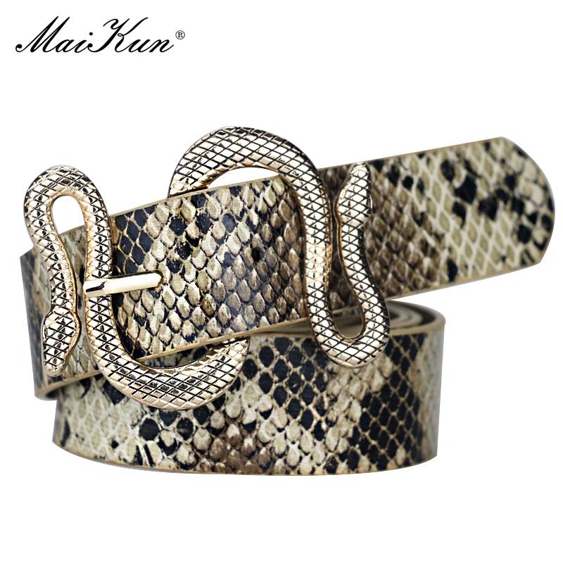 Maikun Belts For Women Snake Shape Pin Buckle Belt High Quality LeatherWomen Belt