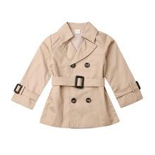 2020 Trench Coat Kids Girls Fashion Long Jackets Party Dress Windbreaker Button