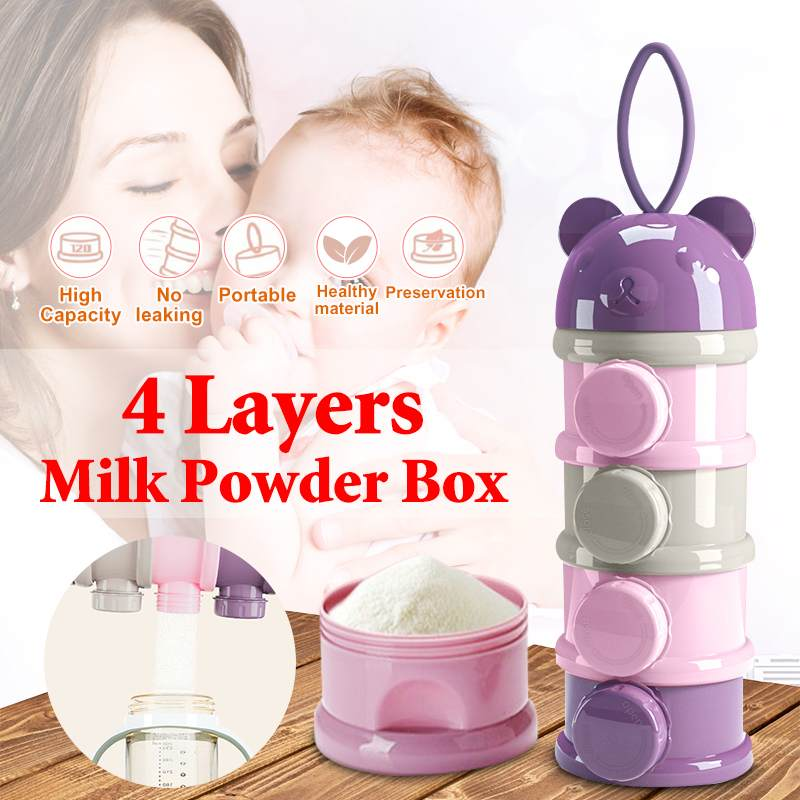 4 Tiers Little Bear Milk Container Portable Kids Baby Milk Powder Box Formula Milk Container Feeding Dispenser Food Storage Box