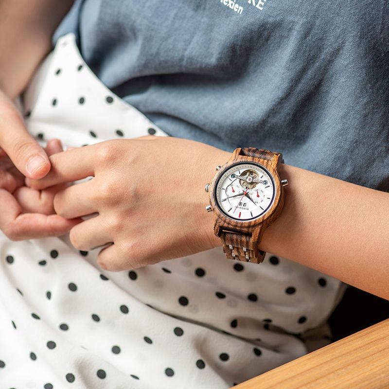 BOBO oiseau mécanique bois montre hommes femmes automatique montre bracelet en bois métal balancier horloge Relogio J Q27 - 2
