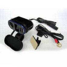 цена на Waterproof LED Motorcycle Dual USB Fast Charger For Phone GPS +12V Cigar Lighter With 22/25MM Handlebar Fixing Bracket