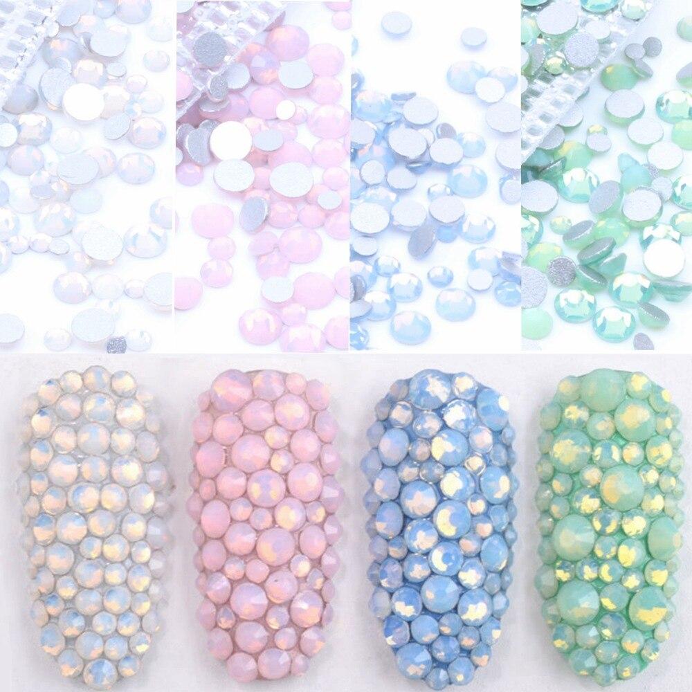 350 шт., 5 грамм, разные размеры, блестящие синие/зеленые/розовые/белые опалы, 3D хрустальные стразы для дизайна ногтей, плоские стеклянные укра...