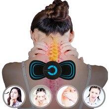 Mini pescoço massageador elétrico borboleta design muscular estimulador volta massageador cervical para ombro cintura braço alívio da dor