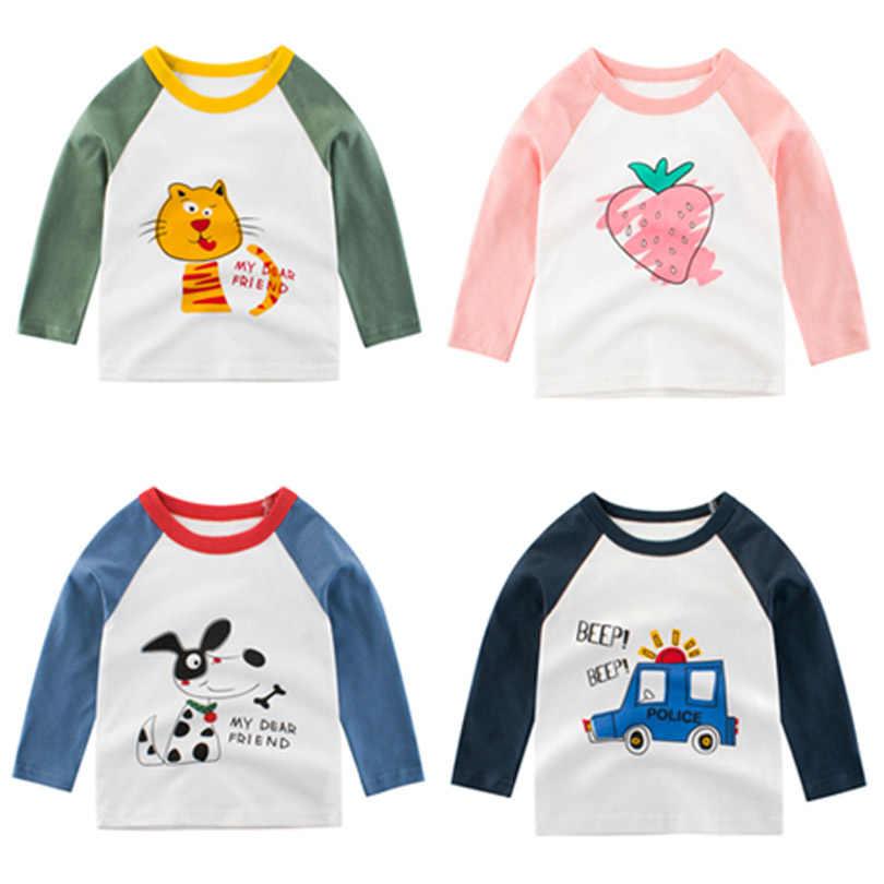 Cão gato Outono Inverno Das Meninas dos Meninos T-Shirt Dos Desenhos Animados Manga Comprida T Camisa Do Bebê Da Marca Crianças Crianças Roupas Casuais Camiseta de Algodão roupas
