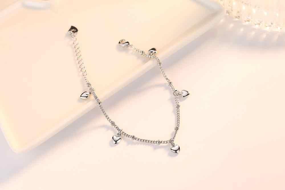 925 som gümüş bileklikler kadınlar için beş aşk kalp Charm gümüş zincir bilezik pulseira hediye düğün şanslı güzel takı