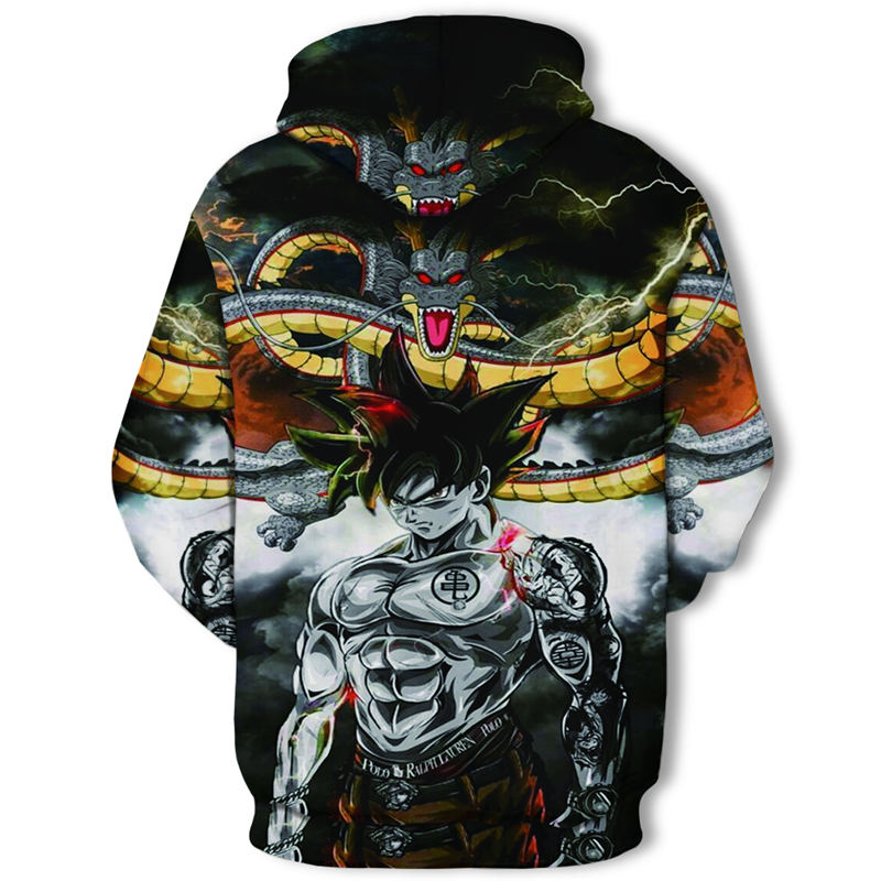Printed Long-Sleeved T-Shirt,Digital Print Couple Comfortable Sweatshirts Exercise Fitness and Tights Sports Dragon Ball