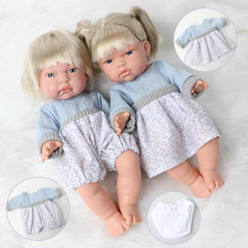 2Pcs 30 ซม.จำลองBebe Rebornตุ๊กตาเสื้อผ้าชุดผม 12 นิ้วซิลิโคนตุ๊กตาทารกแรกเกิดที่สมจริงสำหรับของเล่นเด็ก