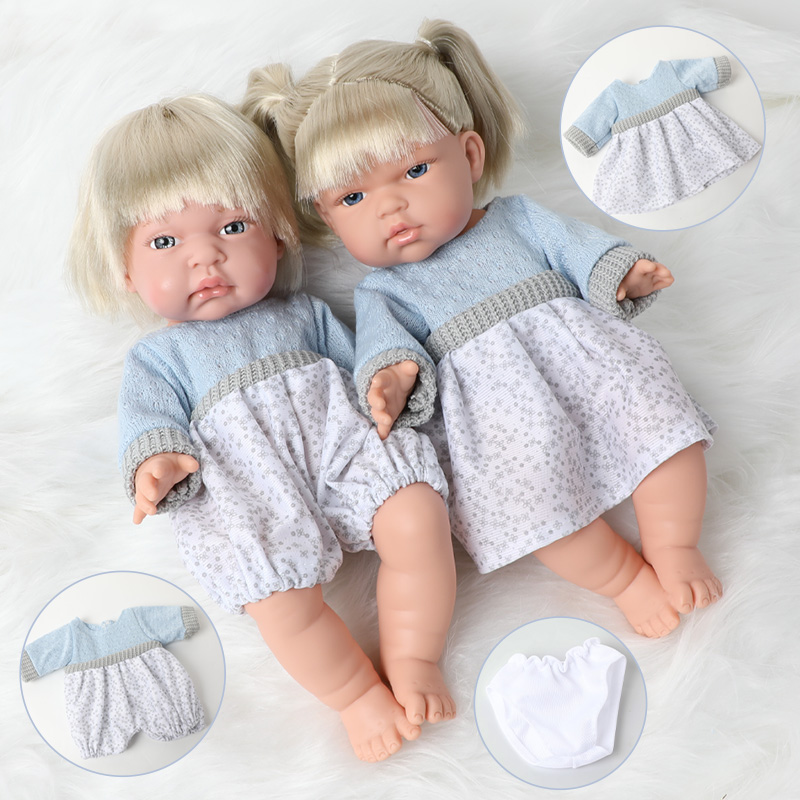 2pcs 30cm Simulation bebe reborn Doll clothes set hair 12 inch waterproof full Silicone Realistic Newborn Baby Doll for Toys kid