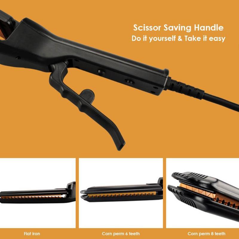 Купить с кэшбэком Portable Electric Hair Straightening Iron Hair Curlers Ceramic Heating Fluffy Wave Hair Corrugated Curling Iron Styling Tools