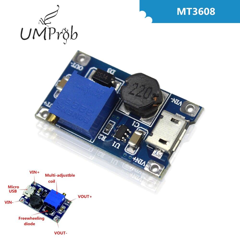 DC-DC Einstellbar Boost Modul 2A Boost Platte 2A Schritt Bis Modul mit MICRO USB 2 V-24 V zu 5V 9V 12V 28V MT3608 LM2577