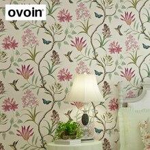 Chinoiserie tapete Schlafzimmer Wand Abdeckt moderne Vintage Rosa Blumen Tapete Blau Tropical Schmetterling Vögel Blume Wand Papier