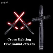 Pqbd sabre de luz metal punho pesado dueling cruz com som crianças presente sabre de luz de metal com som presente para crianças