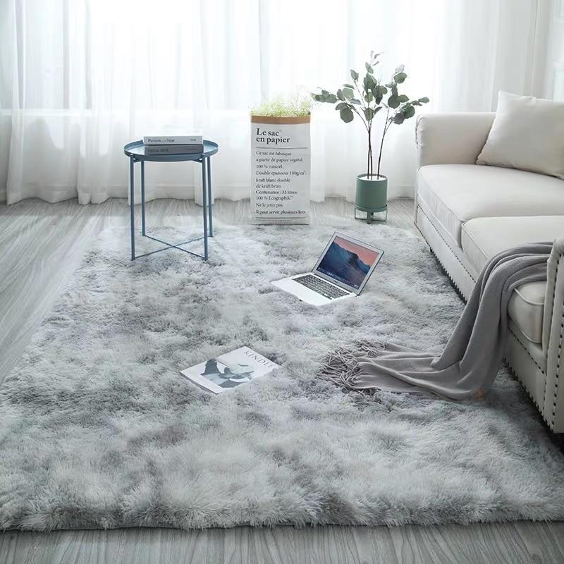 European long hair bedroom carpet bay window bedside mat washable blanket Gradient color living room rug Gray Blue(China)