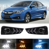3 Color LED DRL Day Light for Honda City 2015 2016 2017 Daytime Running Light 3Y Fog Lamp with Dynamic Sequential Turn Signal