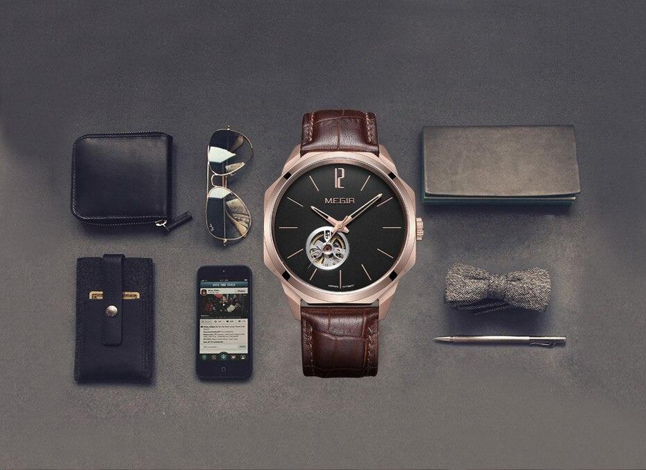 H26a7bb99307e4865bbc64f0ac1bc888eE MEGIR Automatic Watch Men Mechanical Wristwatches