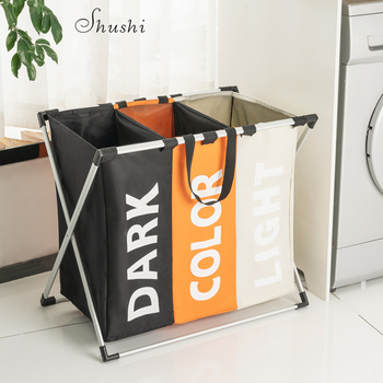 Shushi Waterproof home laundry Basket oxford collapsible laundry basket metal dirty cloth storage Portable laundry organization цена 2017