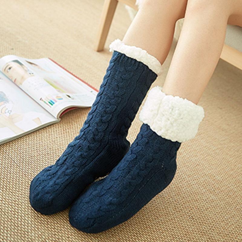 TOIVOTUKSIA Autumn Winter Thicken Plush Knitted Cotton Socks Women Non-slip Home Floor Socks Warm Mid-calf Hosiery For House Sli