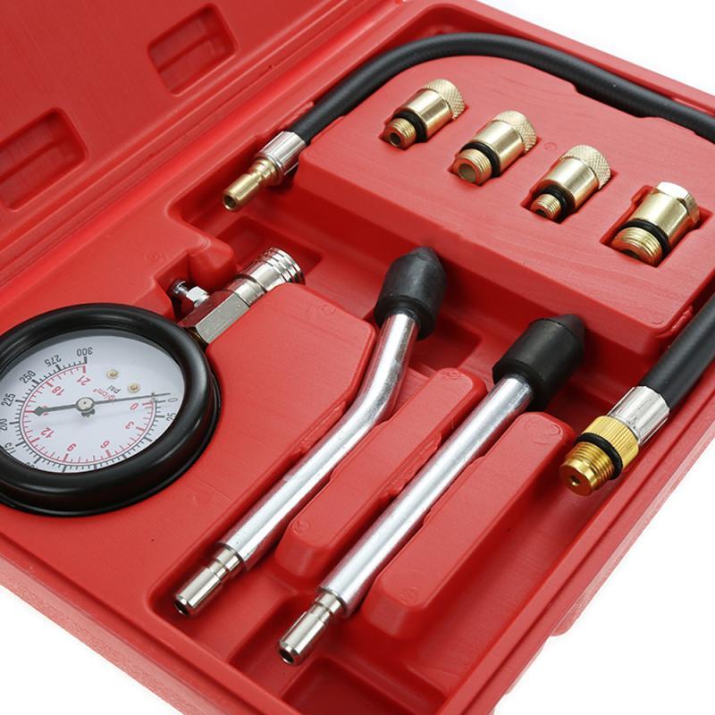 8 PCS Petrol Gas Engine Cylinder Compressor Gauge Meter Test Pressure Compression Tester Leakage Diagnostic Post Dropshipping