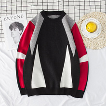 Fashion mens sweaters England fashion knitwear loose bottoming shirt geometric stitching men sweater