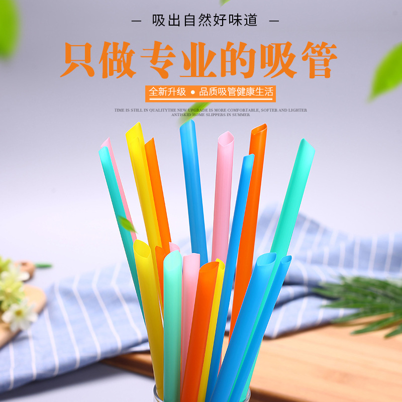 500 Of Disposable Straws Pearl Milk Tea Thick Straw Individual Package Black And White With Pattern Transparent Color Plastic La