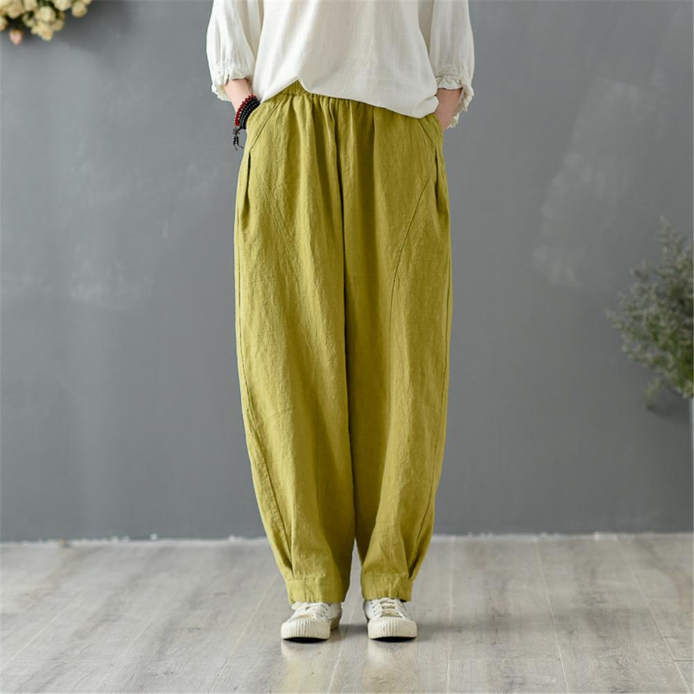 Shanghai Story 2020 Women's Linen Ankle Pants Capris Cropped Tapered Trousers with Pockets