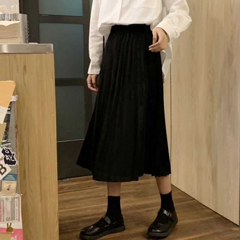 Winter Women Solid Color Elegant Pleated Skirt Elastic High Waist Long Skirt Female Autumn Ladies Midi Skirt Saia S-3XL