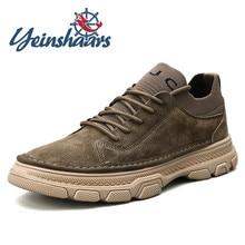 Zapatillas de deporte para hombre, zapatos informales de piel Natural, zapatos de moda para exteriores, calzado Vintage ligero de gamuza para hombre, zapatos de calcetín sólido con cordones