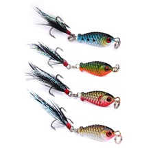 1PC Mini Lead Fish 5cm Metal VIB Fishing Lure Hard Bait with Feather Jig Wobbler Crankbait 3D Eyes Bait Fishing Tackle(China)