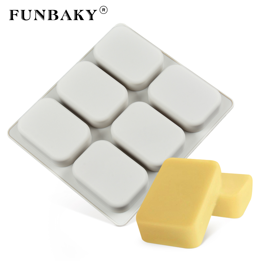 FUNBAKY 6 Holes Large Square Shape Silicone Soap Molds DIY Kitchen Tools Handmade Soap Making Craft Forms Moulds
