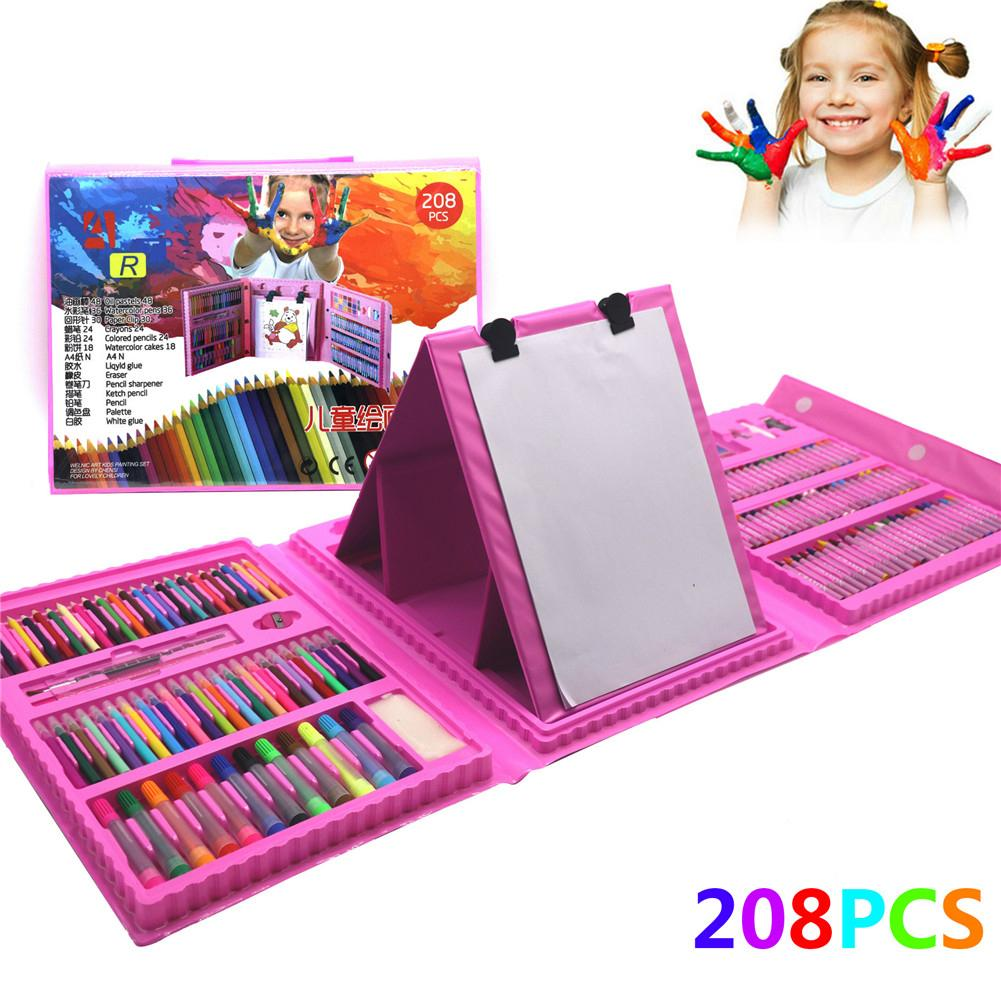 208 Pcs Painting Drawing Set Crayon Colored Pencils Watercolors Pens For Kids Children Student Artist Art Set Paint Brushes