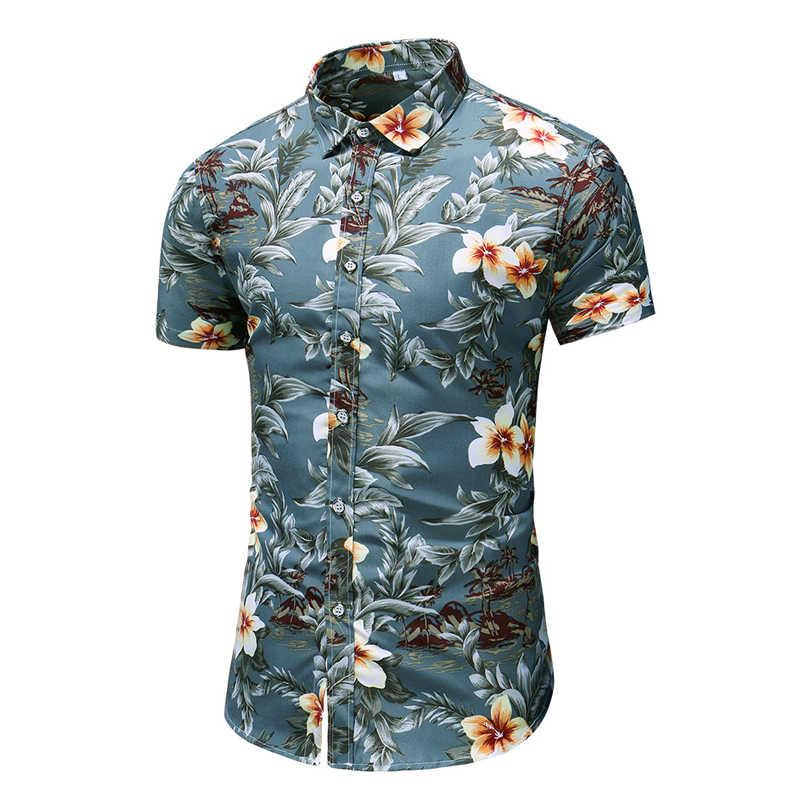 2020 夏半袖シャツメンズカジュアル花ビーチハワイシャツスリムフィット花柄シャツ男性プラスサイズ 5XL 6XL 7XL