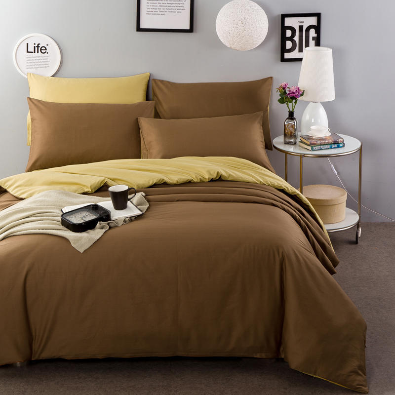Pure Cotton Activity 13372 Cotton Plain Color Solid Color Two Sorts Double Color 100% Cotton Four-piece Suit 1.8 Sheet-Fitted Be