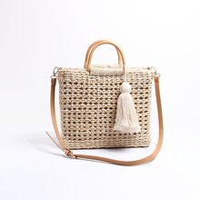 Female handbags Straw Vacation beach bag Shoulder Messenger Bag Square large capacity Tassel tote bags for women 2019