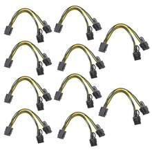 5/10 pces pci-e 6 pinos para duplo 6 + 2 pinos (6 pinos/8 pinos) placa gráfica 6pin do cabo do divisor de alimentação para cabo de alimentação duplo 8pin pcie express