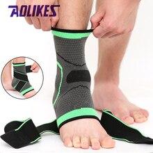 AOLIKES 1 adet 3D spor ayak bileği Brace koruyucu sıkıştırma ayak bileği desteği ped elastik naylon kayış Brace futbol basketbol için