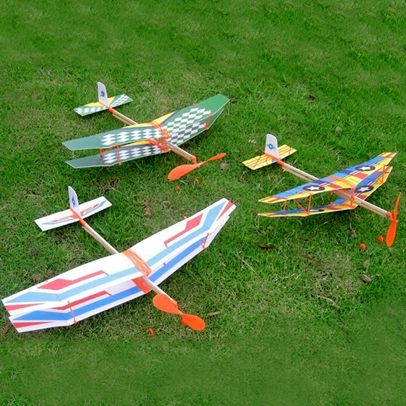 Rubber Band Hand Throw Plane Diy Assembled Helicopter Model Wings Gliding Aircraft Children Puzzle Aircraft Model Stitching Toys