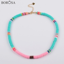 BOROSA 10PCS Boho Style Polymer Clay Beads Fimo Slices Handmade Necklace Rainbow Plastic Thin Disc Choker Jewelry HD0089