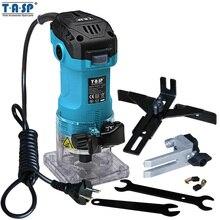 TASP 600 Вт Электрический триммер для ламината, мини фрезерный станок для дерева 6,35 мм, станок для резьбы по дереву, Деревообработка столярных изделий, электроинструменты