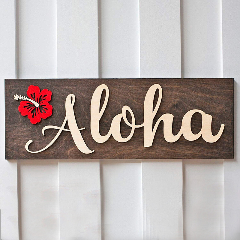 Personalized Aloha Home Welcome Sign Rustic Wooden 3D Front Door Sign Custom Modern Home Decoration Wall Art Board