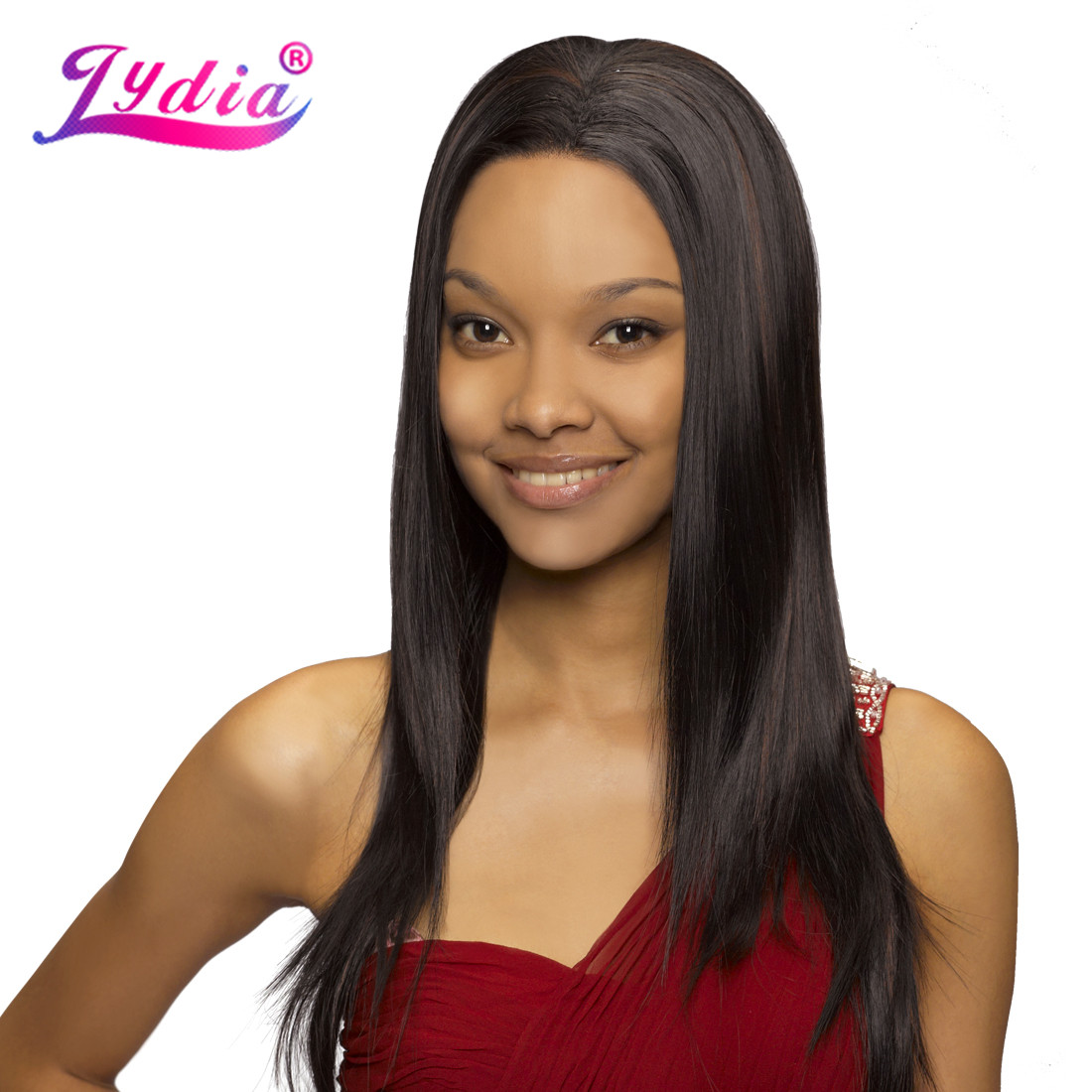Lydia Long Silky Straight Synthetic Hair Wig Piano Color Wig Heat Resistant Glueless Lace Front Full Wigs For Women