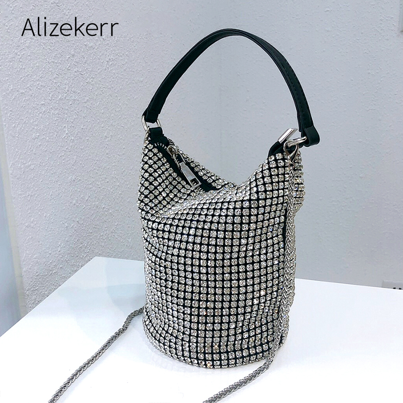 Bling crystal clutch evening bag Women 2020 Luxury designer Korean green Rhinestone bucket shoulder bag wedding party ladies new