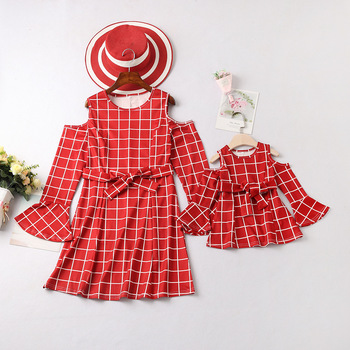 plaid lotus sleeve mother daughter matching dresses mommy and me clothes mom mum and baby dress clothing women girls outfits 1