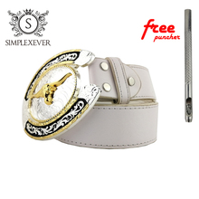 Two-Tone Silver Gold Plated Cow Belt Buckle 3D Animal Series Boys Buckles with Pin & Leather for Men