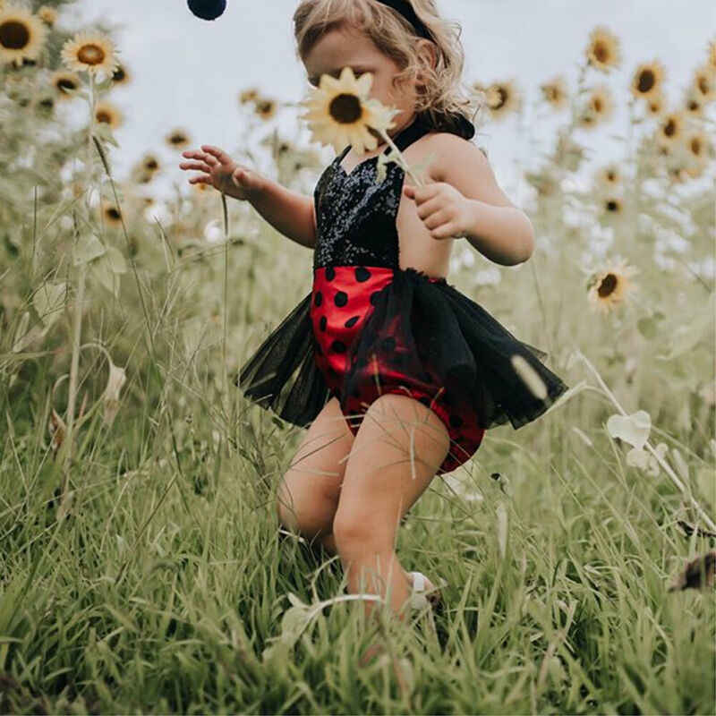 Pudcoco Pasgeboren Baby Meisje Kleding Kids Lieveheersbeestje Sunsuit Tutu Jurk Bodysuit Leuke Halter Jumpsuit Hoofdband Zomer Outfits