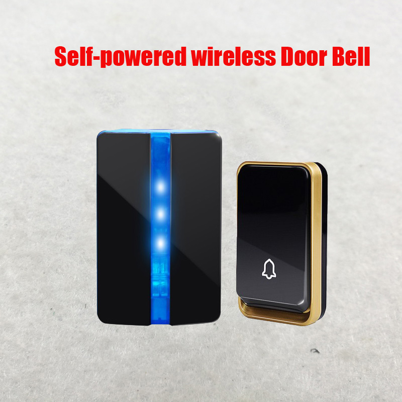 Free Shipping Self Powered Wireless DoorBell Night Light No Battery US EU Plug Home Cordless Door Bell