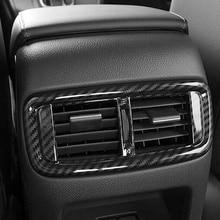 world datong interior abs chrome rear air condition armrest outlet vent panel carbon fiber texture trim 1pcs for jaguar e pace ABS Chrome/Carbon Fiber For Honda CR-V CRV 2017 Accessories Car Internal Rear Air Vent Outlet Panel Cover Trim  Car Styling