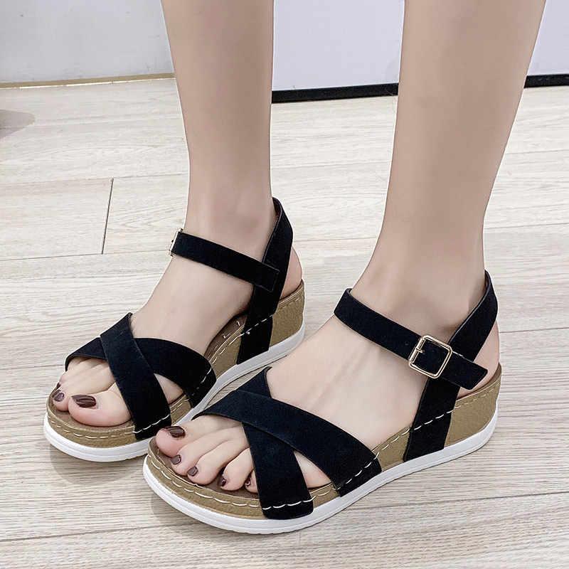 MCCKLE/2020; Летние женские сандалии; Эластичная искусственная кожа; Повседневная обувь золотистого цвета; Женская обувь на платформе и танкетке; Sandalias; Женская обувь; Большие размеры