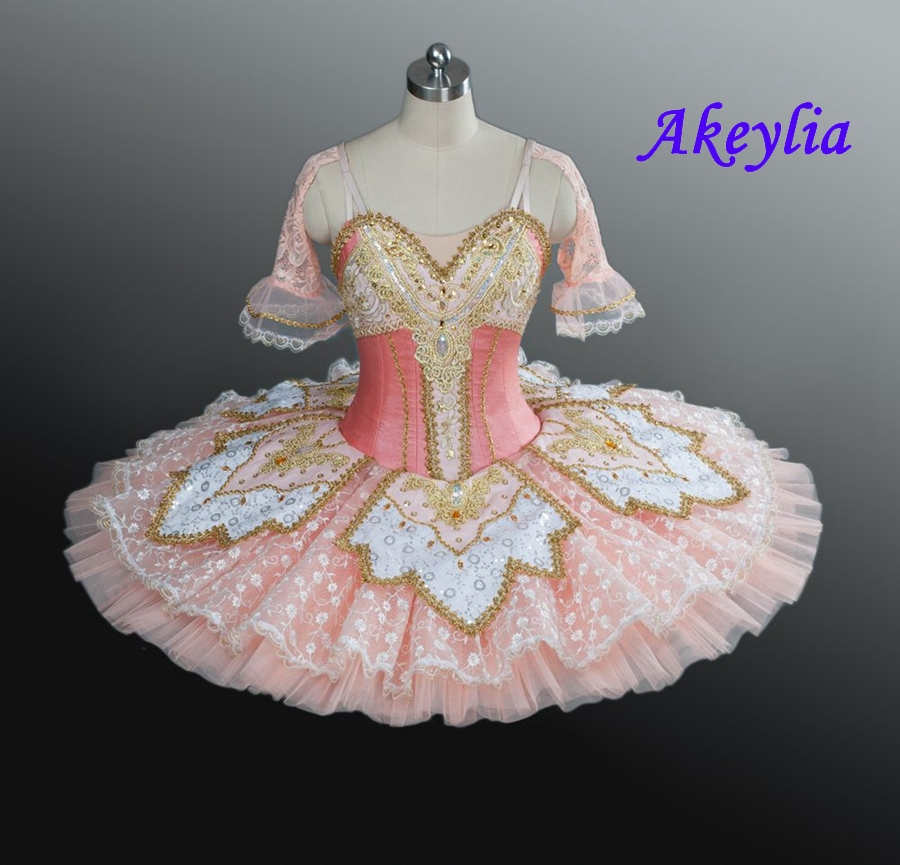 Women Pink Princess Professional Tutu Ballet Peach Fairy Ballet Pancake Tutu Girls Costume Platter Bellrina Pink Sleeping Beauty