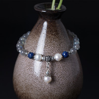 Natural Moonstone Beads With Pearl Charm Bracelets For Women Natural Lapis Healing Balance Handmade Ethnic Bracelet